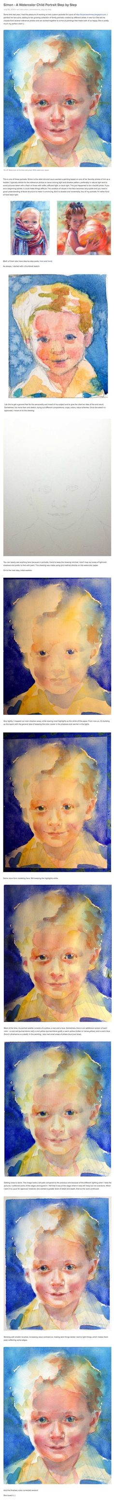 Watercolor Child Portrait Tutorial Step by Step. Artist Yevgenia Watts