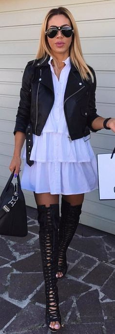 #winter #outfits  white dress and black leather jacket. Pic by @katekijo.