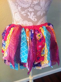 My Little Pony inspired fabric tutu by lovestocreatethings on Etsy
