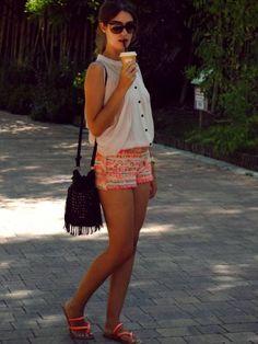nightnonstop Outfit  casual  Verano 2012. Combinar Plano Naranja Primark, Camisa-Blusa Rosa suave/Rosa palo H