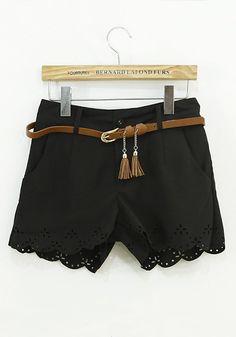 Black Plain Zipper Mid Waist Short Chiffon Pants