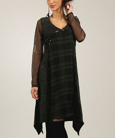 Another great find on #zulily! Anthracite & Black Plaid Sequin Sidetail Dress #zulilyfinds