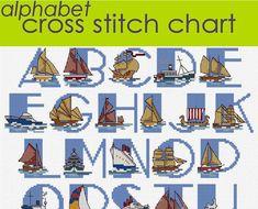 Ship Alphabet Sampler Cross Stitch Chart PDF, Nautical Alphabet, Maritime Alphabet CHART DOWNLOAD