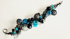 Silver Black and Turquoise Beaded Crocheted by SweetCarolinaCharm, $34.00