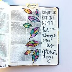 I'm continuing to journal my sermon notes from @pastorgreg8 series on Revelation. I loved this message! Remember from where you have fallen. We are HIS sheep. He has done all of the work for us and he offers to us freely. He always offers grace. If you are in him, you will be victorious and will have grace.  #illustratedfaith #art #biblejournaling #bible #bibleart #icolorinmybible #ipaintinmybible #revelation