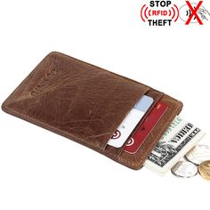 Ultrathin Credit Card Holder Men Genuine Leather Business Rfid Wallet Id Holders Women Vintage Cardholder Porte Carte Bancaire