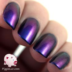 Gothic Gala Lacquers Rainbow In A Bottle is a gorgeous multichrome with a blue to purple shift being most prominent. There are also some gold and copper tones at a certain angle. Seriously a gorgeous polish!