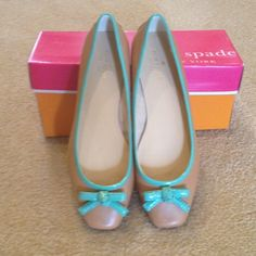 ⭐️HP Kate Spade Tan w/ teal ballet flats NWT. Leather w/ real patent trim. Made in China. Host Pick 5/4/15. kate spade Shoes Flats & Loafers