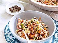 This rib-sticking chili offers a hearty mix of wheat berries, beans, peppers and onion.
