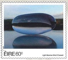 Light Receiver, skulpture  by Eilis O' Connell, was born in Derry, N. Ireland in 1953. Post stamp from Ireland, circa 2014.