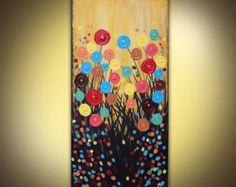 Pintura original sobre lienzo acrílico moderno abstracto flores enormes 18 x 36