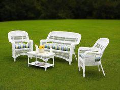 White Wicker Resin Patio Furniture Set w/ Caribbean Cushions White Wicker Patio Furniture, Resin Patio Furniture, Porch Furniture, Garden Furniture, Furniture Usa, Furniture Online, Furniture Stores, Luxury Furniture, Outdoor Sofa Sets