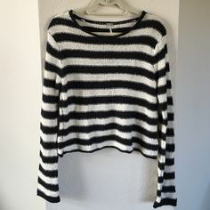 Free People Sweater Black and creme stripes. 64% cotton, 16% rayon.  Super soft Free People Sweaters Crew & Scoop Necks