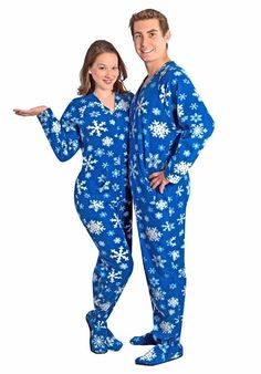 Adult Footies Snowflakes Blue Fleece Drop Seat Footed Pajamas - CLEARANCE, 10 $35.95 + $10.50 shipping