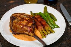 Grilled Veal Chop with Roasted Red Pepper Sauce