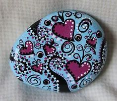 Hand-Painted-Rock-Colorful-By-Deb-Rottum-Lt-Blue-Pink-Hearts