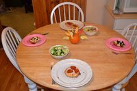 Last night we had English Muffin Pizzas for dinner. This was a favorite meal of mine as a child and I wanted to continue the tradition of having this fast and fun dinner with my daughters. Lauren and Molly are always excited when they hear it is English Muffin Pizza...
