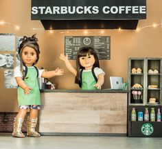and I have been working on a big project lately: a miniature Starbucks! Jamie and Vanessa are so glad you stopped by! They can't wait to show you all around their coffee shop! American Girl Doll Room, American Girl Outfits, American Girl Doll Pictures, American Girl Crafts, All American Girl, Ag Dolls, Cute Dolls, Girl Dolls, Poupées Our Generation