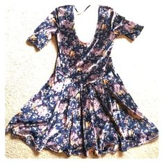 Kimchi Blue navy velvet dress from Urban Outfitter Kimchi blue floral dress in velvet, size medium. Worn only once, this dress is extremely flattering and comfortable. Could be dressed up or down to fit any occasion.  Open to offers! Urban Outfitters Dresses Mini