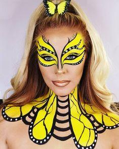 Unique Makeup, Creative Makeup Looks, Colorful Makeup, Bee Makeup, Crazy Makeup, Face Paint Makeup, Eye Makeup Art, Media Makeup, Yellow Makeup