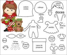 Risultati immagini per molde natal em feltro Felt Doll Patterns, Stuffed Toys Patterns, Felt Christmas Ornaments, Christmas Crafts, Fabric Dolls, Paper Dolls, Christmas Templates, Christmas Patterns, Theme Noel