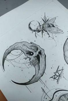 New origami dessin chouette Ideas Creepy Drawings, Dark Art Drawings, Cool Drawings, Tattoo Drawings, Drawing Sketches, Unique Drawings, Tattoo Art, Arte Horror, Horror Art