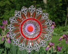 Recycled Garden art Hand crafted plate flower Hand by GlassBlooms