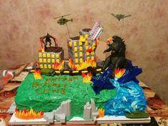 My Godzilla Cake More Birthday Pins, Birthday Stuff, 7th Birthday, Birthday Cakes, Birthday Ideas, Birthday Parties, Godzilla Party, Godzilla Birthday Party, Graham Cake