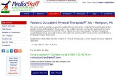 Pediatric PT position, Hampton, VA - One of our clients is looking to expand their state-of-the-art clinic and is need of a Physical Therapist for their pediatric and/or adult population. Multiple openings, so you have the opportunity to choose which population you prefer to work with. This is a direct hire, year-round position. Hampton, Virginia is a wonderful place to live, especially for those who want to be near the water! - click on this image to learn more about this and all our jobs!