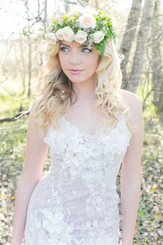 Flower Crown - Enchanted Forest Bride :: Anna Georgina Wedding Dress :: Hair and make-up by Karenza :: Veronique Photography :: www.ConfettiDaydreams.com