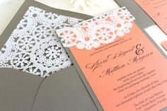 Wedding Invitations Lace Vintage Coral and Grey by AlexandriaLindo, $6.00  #lace #coral #peach