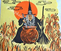 Vintage Paper Halloween Napkin - Witch with Cauldron in Cornfield on Yellow Halloween Items, Halloween Pictures, Halloween Skull, Holidays Halloween, Vintage Halloween, Paper Halloween, Fall Pumpkins, Halloween Pumpkins, Crepe Paper