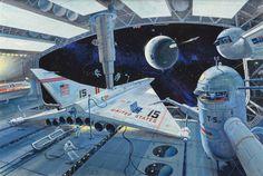 "shear-in-spuh-rey-shuhn: "" ROBERT MCCALL Docking Port Space City Gouache on board 26.75"" x 39.75"" """
