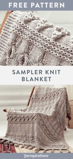"""Free Sampler Knit Blanket pattern using Bernat Maker Home Dec yarn. This project is the perfect chance to try out stitches and techniques that may be new to you. Sections of cables, bobbles along with simple knit & purl combinations will have you saying """"just one more row!""""  #yarnspirations #freeknitpattern #knitblanket #knitthrow #knitafghan #bernatyarn #bernatmakerhomedec Easy Crochet Patterns, Knitting Patterns Free, Chunky Crochet Blanket Pattern Free, How To Purl Knit, Knit Purl, Big Knit Blanket, Chunky Blanket, Bernat Yarn, Baby Pullover"""