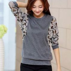 Women's Casual Micro Elastic Regular T-shirt (Lace/Knitwear) Sewing Clothes Women, Diy Clothes, Kleidung Design, Sewing Blouses, Make Your Own Clothes, Altering Clothes, T Shirt Diy, Refashioning, Diy Fashion