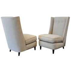 Paul Laszlo (1900-1993) Pair of 1940s Upholstered Chairs | From a unique collection of antique and modern lounge chairs at http://www.1stdibs.com/furniture/seating/lounge-chairs/