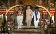 Paying his respects: Prince Charles also visited Sri Lanka's most important Buddhist shrine, which contains a tooth from the Buddha himself