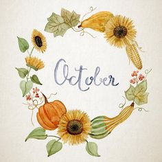 Hand-painted watercolour flower wreath for October