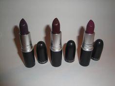 MAC Smoked Purple, Prince Noir and Rebel Lipstick
