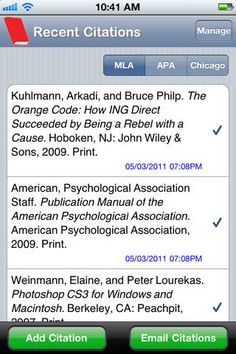 [Free] EasyBib at https://itunes.apple.com/us/app/easybib/id436768184?mt=8 Create accurate citations in MLA, APA, or Chicago styles by scanning an item's ISBN or searching for the title.