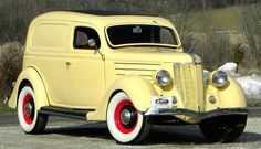 The 1936 Ford Sedan Deliver has been transformed from a humble work truck into a restored showpiece