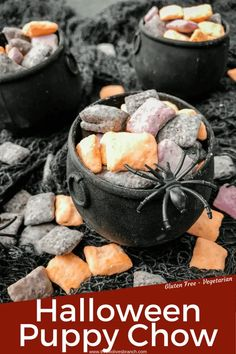 Halloween Puppy Chow is made with purple, orange, and black candy melts for sugar covered muddy buddies. A gluten free Halloween dessert recipe. #halloweenrecipes #halloweendessert #puppychow