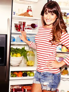 Want to eat like a celebrity? Take a peek inside Lea Michele's refrigerator! // #Celebrity #Health #Fitness