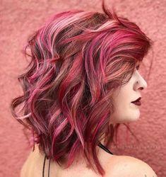Brown Hair With Pink Highlights, Pink Hair Streaks, Pink And Orange Hair, Dark Pink Hair, Rose Pink Hair, Bright Pink Hair, Pink Ombre Hair, Pastel Pink Hair, Hair Color Pink