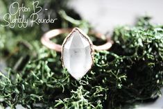 Herkimer Diamond Ring - Raw Stone Engagement Ring - Raw Quartz Ring - Rough Diamond Ring - Bohemian Wedding Ring - Promise Ring For Her Raw Stone Engagement Rings, Vintage Oval Engagement Rings, Raw Diamond Rings, Herkimer Diamond, Crystal Diamond, Rough Diamond, Quartz Crystal, Alternative Wedding Rings, Wedding Rings Simple