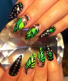 neon green nails in our nailgallery at www.fanzis.com by Nails by Trina -> https://www.facebook.com/nailsbytrina85