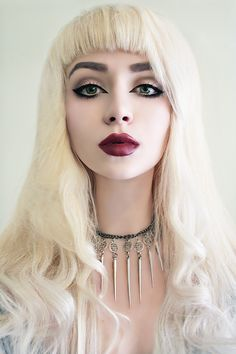 Nu goth defined eyes with deep red lips