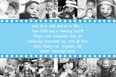 Custom First Birthday Invitation OR Thank You Card 12 months of photos babies first birthday boy or girl background color can be changed.