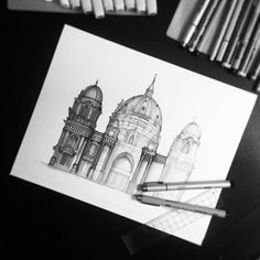 Greyscale is spreading across the work. 0.05 black Micron fineliner, Berlin Cathedral #gameofthrones
