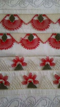 This Pin was discovered by azi Needle Lace, Needle And Thread, Linen Towels, Textile Jewelry, Ribbon Work, Lace Making, Tree Branches, Needlepoint, Needlework